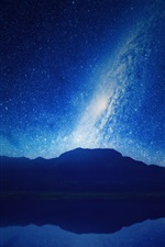 Preview iPhone wallpaper Night, mountains, lake, reflection, starry, sky