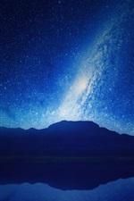 Night, mountains, lake, reflection, starry, sky