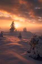 Preview iPhone wallpaper Norway, Ringerike, winter, snow, trees, clouds, sunset
