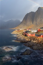 Preview iPhone wallpaper Norway, mountains, houses, lake, rainbow