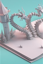 Preview iPhone wallpaper Paper art story, dragon, castle, warrior