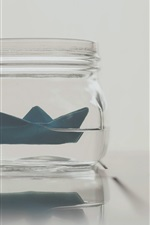 Preview iPhone wallpaper Paper boat, glass bottle