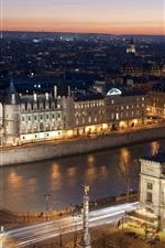 iPhone fondos de pantalla París, ciudad, noche, puente, río, luces, Francia