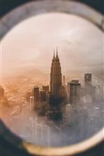 Preview iPhone wallpaper Petronas Twin Towers, look from window, Kuala Lumpur, Malaysia