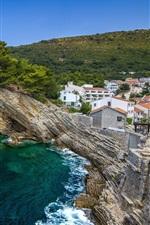 Petrovac cidade, Montenegro, mar, costa, rochas, árvores, casas