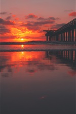 Preview iPhone wallpaper Pier, sea, sunset, red sky, clouds