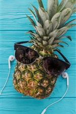 Preview iPhone wallpaper Pineapple, glasses, plane, headphones, phone, blue wood background