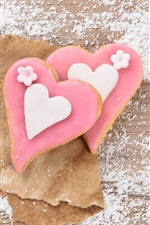 Preview iPhone wallpaper Pink love heart cookies, sugar powdered