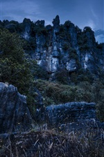 Piopio, New Zealand, mountains, rocks, night