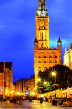Preview iPhone wallpaper Poland, Gdansk, night, lights, city, street
