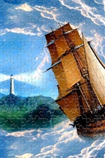 Puzzles, lighthouse, sailboat, sea, waves, clouds