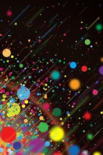 Preview iPhone wallpaper Rainbow color circles, rain, abstract