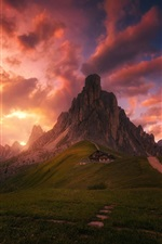 Preview iPhone wallpaper Red clouds, sky, evening, house, mountains, meadows, Alps