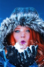 Preview iPhone wallpaper Red hair woman, blue eyes, snow