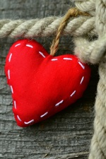Preview iPhone wallpaper Red love heart, rope