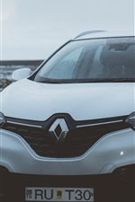 Renault white SUV car front view, water drops