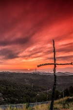 Preview iPhone wallpaper Road, trees, crosses, sunset, red sky