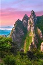 Preview iPhone wallpaper Rocks mountains, grass, green, nature landscape