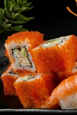 Rolls, caviar, seafood, sushi