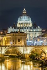 Preview iPhone wallpaper Rome, night, lights, river, bridge, Palace, Italy