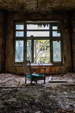 Preview iPhone wallpaper Room, windows, chair, dirt, ruins
