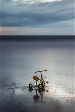 Preview iPhone wallpaper Sea, clouds, sunset, child toy bike
