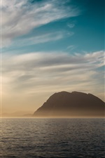 Preview iPhone wallpaper Sea, mountains, clouds, sunset