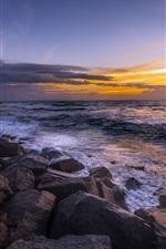 Preview iPhone wallpaper Sea, rocks, dusk, sunset