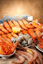 Preview iPhone wallpaper Seafood, shrimp, wine, crabs