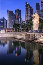 Preview iPhone wallpaper Singapore, skyscrapers, lake, dusk