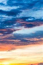 Céu, nuvens, pôr do sol, crepúsculo