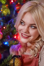 Preview iPhone wallpaper Smile blonde girl, Christmas tree, balls, decoration
