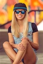 Preview iPhone wallpaper Smile blonde girl, sunglasses, skateboard