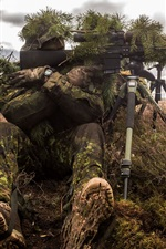 Preview iPhone wallpaper Sniper, soldier, disguises, rifle, bushes