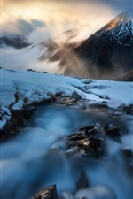 Preview iPhone wallpaper Snow, rocks, creek, mountains, winter