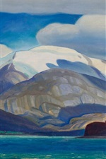 Preview iPhone wallpaper South America, sea, mountains, oil painting, Rockwell Kent