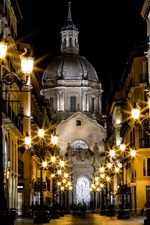 Preview iPhone wallpaper Spain, Zaragoza, cathedral, street, buildings, lights, night