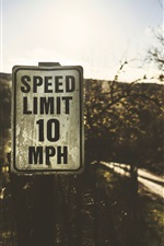 Preview iPhone wallpaper Speed limit sign, road