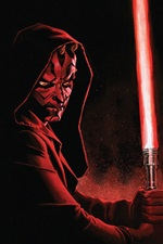 Preview iPhone wallpaper Star Wars, Darth Maul, lightsaber, art picture