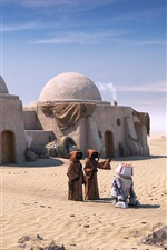 Preview iPhone wallpaper Star Wars, Tatooine, robot, desert