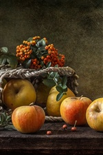 Preview iPhone wallpaper Still life, apples, berries, basket