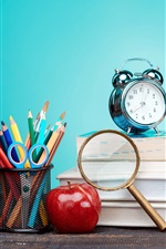 Preview iPhone wallpaper Still life, books, magnifier, scissors, alarm clock, red apple, blue background
