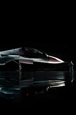 Preview iPhone wallpaper Sukhoi Su-30 military aircraft, man, black background