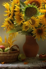 Sunflowers, apples, table