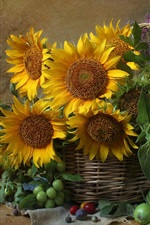 Preview iPhone wallpaper Sunflowers, basket, plums