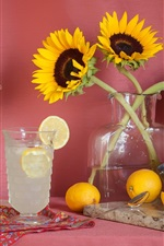 Preview iPhone wallpaper Sunflowers, lemons, glass cups, drinks