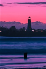Preview iPhone wallpaper Sunset, bay, lighthouse, clouds