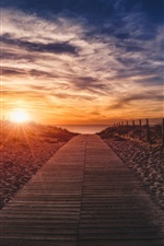 Preview iPhone wallpaper Sunset, clouds, wooden path, beach, sea