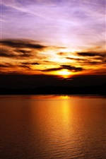 Sunset, sky, clouds, lake