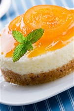 Preview iPhone wallpaper Sweet cake, dessert, apricot, plate, spoon